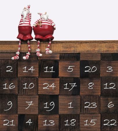 calendario: Santa Claus en el calendario de Navidad Foto de archivo
