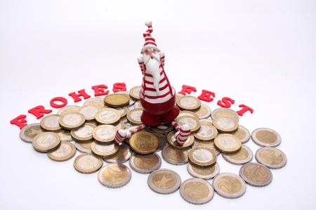 Santa Claus with coins photo