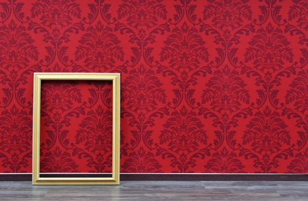 picture frame on wall: retro wall paper and picture frame Stock Photo