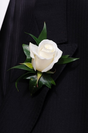 buttonhole: Rose buttonhole on grooms jacket Stock Photo