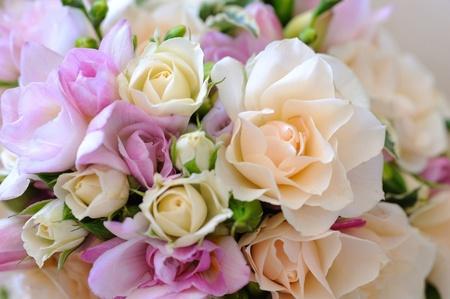 Brides flowers closeup, roses.