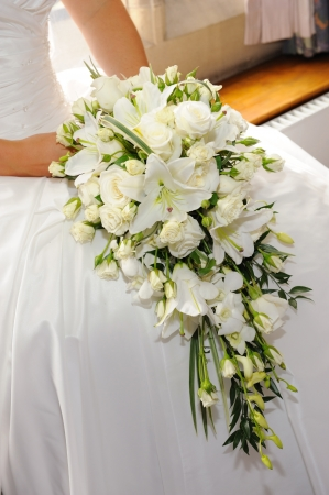 Brides white lilies and roses. photo