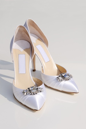 Brides white shoes with white background