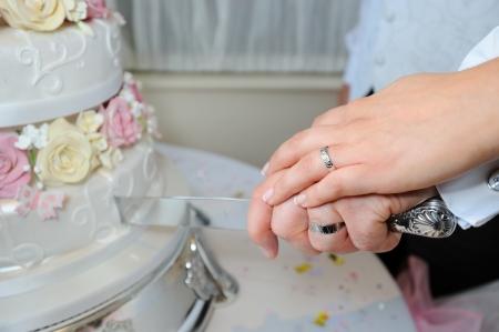 Close up of bride and groom cutting wedding cake Standard-Bild