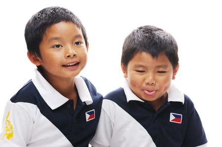 Asian brothers wearing philippines flag photo