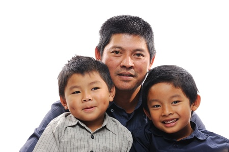 Asian father hug sons looking happy