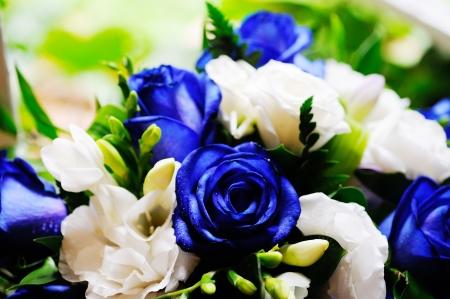 Brides blue rose bouquet closeup
