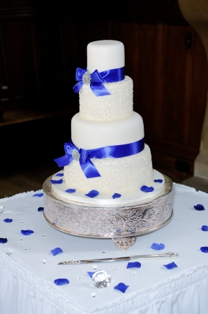 Blue and white wedding cake at reception photo