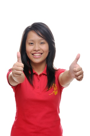 Asian girl in red shirt with thumbs up Standard-Bild