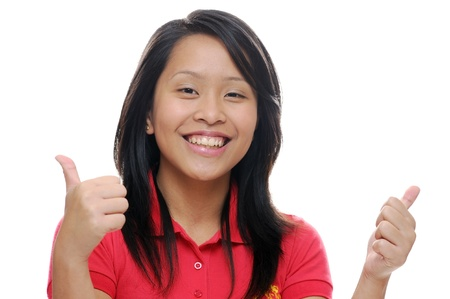 Asian girl in red with thumbs up photo