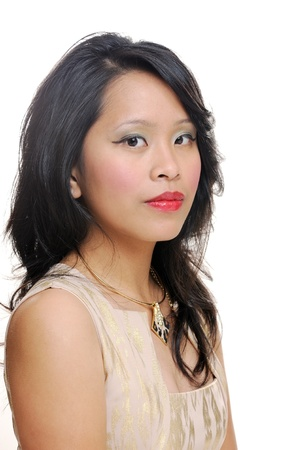 Asian girl portrait looking pretty with makeup photo