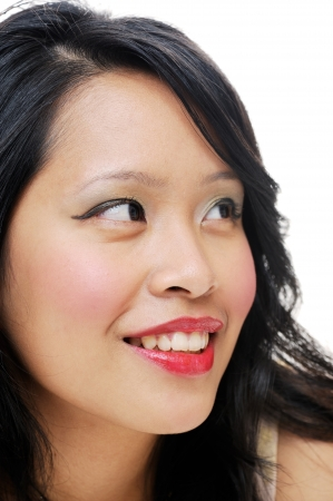 Asian ladys portrait closeup wearing makeup photo