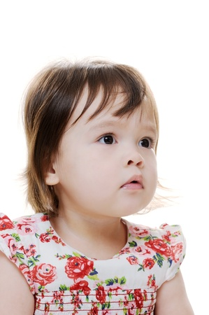 perplexed: Portrait of a young female child looking perplexed Stock Photo