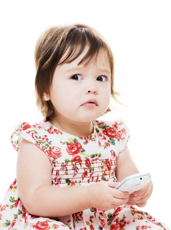 little girl texting on mobile wrong looks worried
