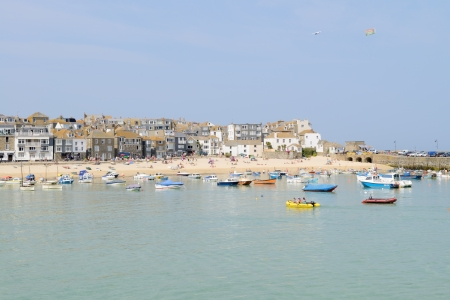 Cornish fishing boats in St Ives, Cornwall, England on a sunny day in the summer  photo