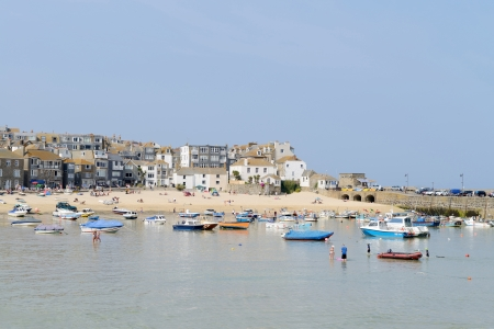 Sunny landscape of cornish town St Ives in summer photo