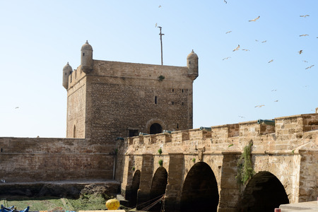 Fortifications showing tower in Essaouira in Morroco