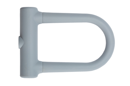 u shaped bycycle lock with Silicone Cover on white black ground.