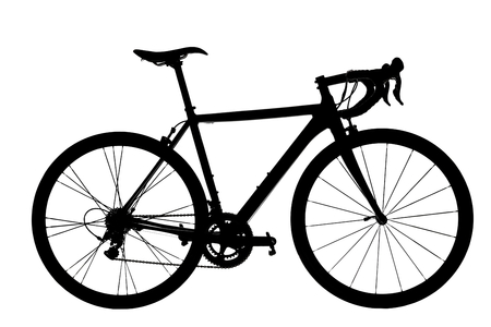 Road Bike Silhouette on white background.