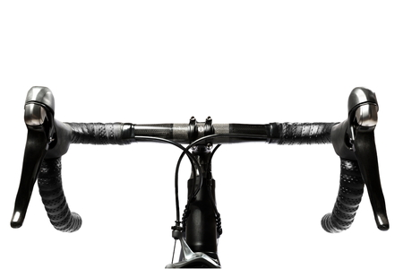 road bike handlebar carbon on white background