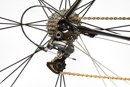 road bike rear derailleur on white background. Imagens