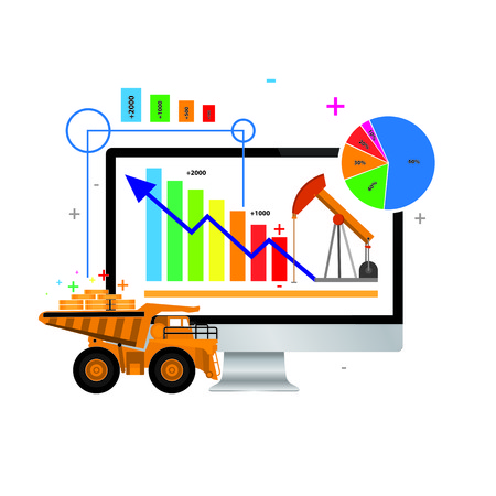 Vector Business share and graphs Illustration