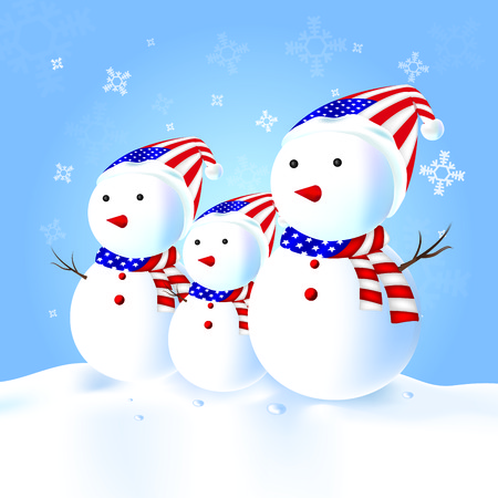 American Snowman family with hat, scarf, snow