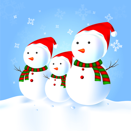 Snowman family with hat, scarf, snow Illustration