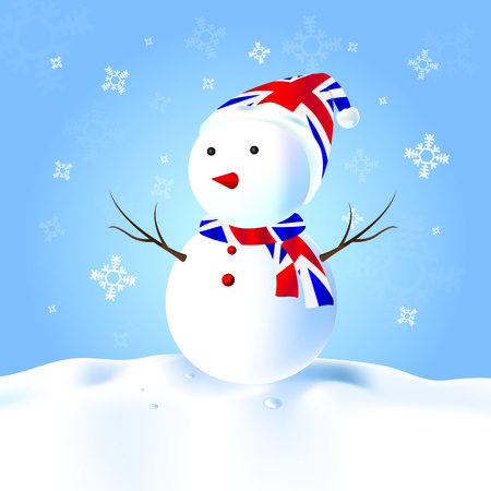 English Snowman with hat, scarf, snow