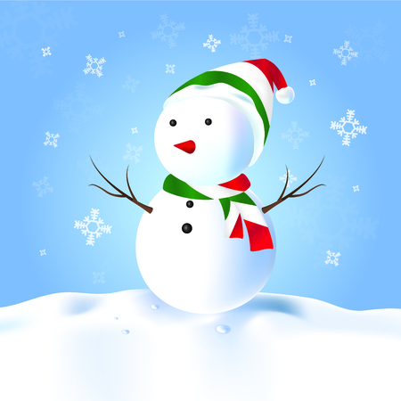 Italy Snowman with hat, scarf, snow