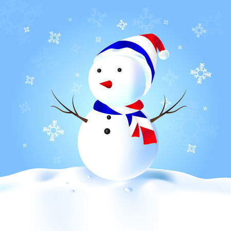 France Snowman with hat, scarf, snow Illustration