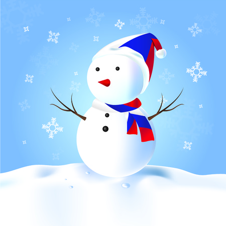 Russia Snowman with hat, scarf, snow
