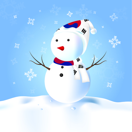 Korea south Snowman with hat, scarf, snow