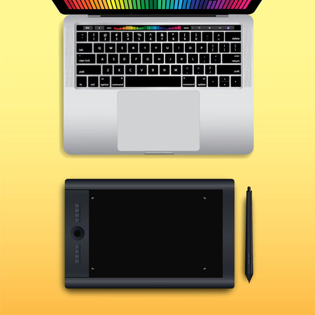work space: Vector Flat design illustration work space, Table space layout ( Realistic )