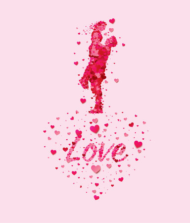 Vector The two chambers of the heart and passion pink, love with heart