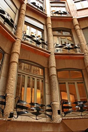 casa: BARCELONA - AUGUST 31: Casa Mila La Pedrera building on August 31, 2010 in Barcelona. Casa Mila is one of buildings created by Antonio Gaudi.
