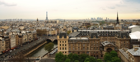 Panoramic view of Paris and Eiffel Tower