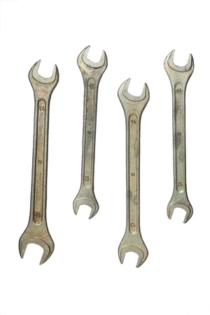 Set of wrenches isolated on the white background photo