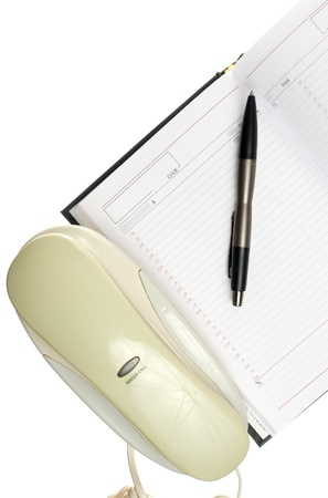 Office phine, calendar and pen