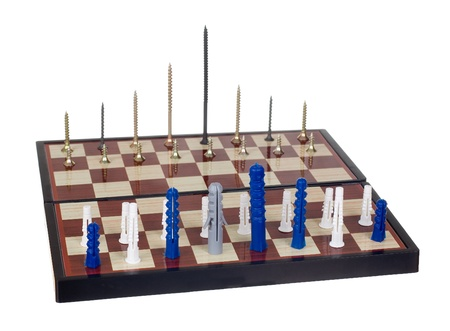 Dowels and screws on a chessboard