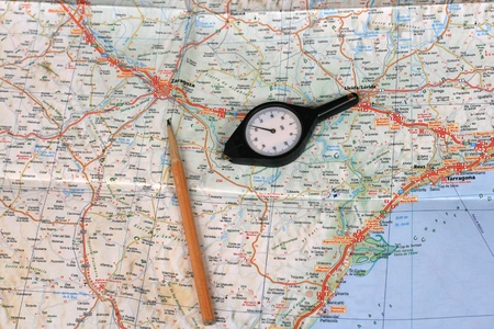 map pencil: Map, pencil and curvimeter (map measurer)