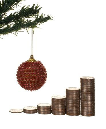 christmas profits: Christmas tree and money