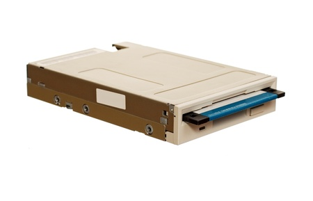 dataset: Floppy disk drive with diskette isolated over white