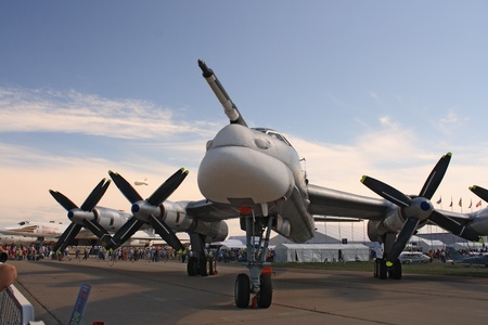 ZHUKOVSKY, RUSSIA - AUGUST 19: A Russian strategic bomber Tu-95 Bear on display at the Moscow Aerospace Show (MAKS-2011) on August 19, 2011 in Zhukovsky, Russia. Ty-95 the biggest bomber in the world.