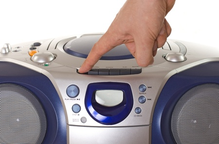 Pushing button of a tepe recorder with cd player Stock Photo - 12954269