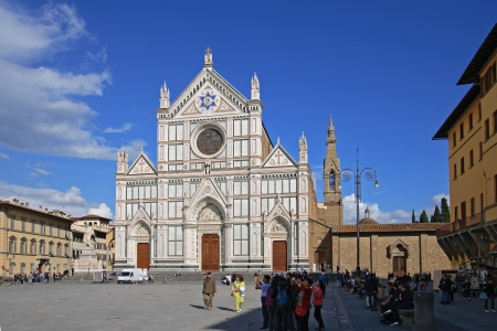 FLORENCE - MAY 07  View of the Basilica di Santa Croce  Basilica of the Holy Cross  on May 07; 2012 in Florence  Santa Croce is one the most popular destinations of Florence; Italy