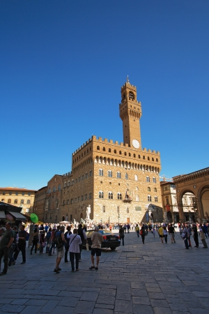 FLORENCE - MAY 03: View of Palazzo Vecchio in Florence on May 03, 2012. Palazzo Vecchio is the palace of Medici and one of the most popular destinations of Florence, Italy