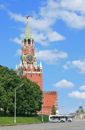 Clock tower of Moscow Kremlin at noon Stock Photo
