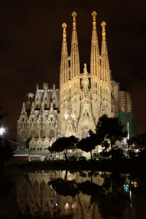 BARCELONA - MAY 10  The Basilica of La Sagrada Familia at night  Designed by Antoni Gaudi, its construction began in 1882 and is not finished yet on May 10, 2013 in Barcelona, Spain