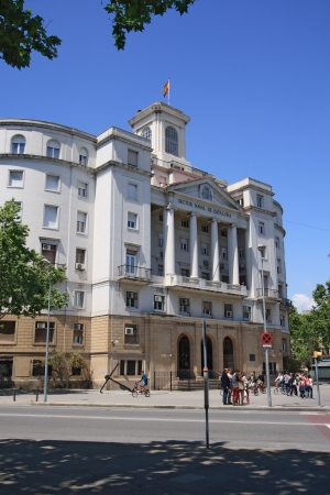building sector: BARCELONA - MAY 11  Sector Naval de Catalunya - government building on May 11, 2013 in Barcelona, Spain  The building is the old Navy office in Port Vell of Barcelona Sector Naval de Catalunya - government building in Barcelona, Catalonia  Stock Photo